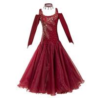 Vestido de la competencia de la danza del salón de baile de desgaste del escenario vestido de vestir estándar para bailar el vestido de bola larga