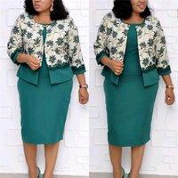 Дизайнер 2 шт. платья мода цветочный принт кружева панелями женские кардиган одежда 2 шт. наборы платьев повседневная женская одежда плюс размер женщин