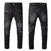 hot sale New Mens Distressed Ripped Biker Jeans Slim Fit Mot...