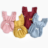 New Arrival Baby Girls Romper Toddler Flying Sleeves Cotton ...