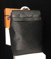Пароход рюкзаки черный цветок печатных натуральная кожа рюкзак мужская сумка высокое качество натуральная кожа рюкзак дизайнер бренда рюкзак M44052