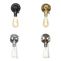 120v 230v interruptor de la cadena de tracción apliques de pared LED se enciende estilo loft Cromo retro pared de la habitación de hierro de época lámpara de noche lampen escalera wandlamp