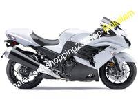 ZX-14R CAMPO PERSONALIZADO PARA KAWASAKI NINJA ZX14R ZZR1400 2012 2013 2014 2015 Blanco Kit negro de carenado ABS negro (moldeo por inyección)