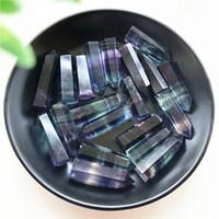 1 Stück Natur Lila Grün Fluorit-Quarz-Kristall-Punkt Healing Hexagonal Stein Wand Flussspat Quarze 35-40mm