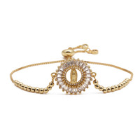 Design clássico cor ouro abençoado virgem maria charme pulseiras para mulheres menina zircônia pulseira jóias religiosas