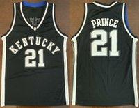 İngiltere Kentucky Wildcats College Tayshaun Prens # 21 Beyaz Siyah Retro Basketbol Jersey Erkek Dikişli Özel Numarası Adları
