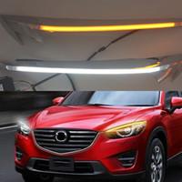 1 par para mazda cx-5 cx5 2012 2013 2014 2015 2016 carro fardo sobrancelha decoração amarela curva drl diodo emissor de luz diodo emissor de luz
