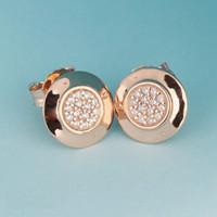 Gros- or rose 18 carats dormeuses Coffret original pour Pandora Argent 925 CZ Boucles d'oreilles diamant pour les accessoires de mode femmes
