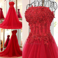 Red Lace Appliqued Prom Evening Dress A Line Flower Long Formal Party Ball Gown Strapless Tulle Pageant Dresses