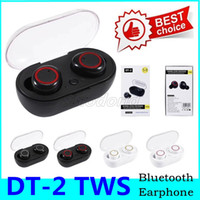 Mini gemelos Bluetooth 5.0 auricular estéreo del auricular del deporte en la oreja los auriculares auriculares DT-2 TWS Con el zócalo de carga para Smartphone