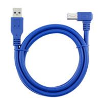 Para ordenador portátil PC USB 3.0 A macho a USB 3.0 AM impresora B macho Tipo BM extensión de cable de alambre de cable USB3.0 2M codo de 90 grados
