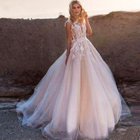 Sheer Neck A Line Brautkleider Spitze Appliques Charming Blush Pink Brautkleider Sweep Zug Tiered Tulle Beach Formal Dress