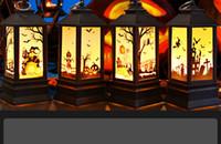 새로운 할로윈 시뮬레이션 불꽃 빛 촛불 크고 작은 기름 램프 장식 마녀 호박 성 패턴 할로윈 장식 조명