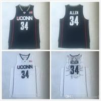 2019 Universität 34 Ray Allen Uconn Huskies Trikots Männer College Basketball Navy blau Weiß Alles genäht und Stickerei NCAA schwarz weiß