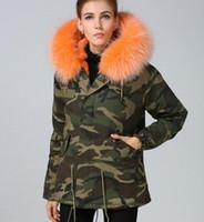 2019 moda donna cappotti da neve Meifeng marca arancione coniglio pelliccia foderato camuffamento guscio mini parka con arancio pelliccia di procione assetto felpa con cappuccio