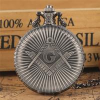 Montre de poche maçonnerie maçonnerie Big G Montre de poche Antique Vintage Vintage Vintage gris Pendentif Pendentif Collier Cadeaux