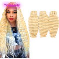 Malaisienne humaine Cheveux Vierge Extensions 3 Bundles vague profonde 613 # Blonds Curly Double Trames 10-28inch Blond Doux gros