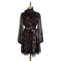 [MENKAY] Весна Урожай Leopard печати Элегантный бинты платье женская Sheer длинным рукавом корейской моды одежды