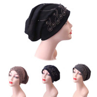 Women Hot Drilling Crochet Thicker Knit Beanie Caps Hat Scar...