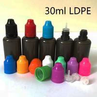 10ml 30ml PE Noir E Bouteille à Aiguille Liquide Ecig Huile En Plastique PE Doux Ejuice Compte-gouttes Coloré Caps