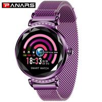 Panários elegante diamante patchwork roxo relógios inteligentes para telefones Taxa de calor banda magenética digital relógio de pulso mulheres menina 2019 novo