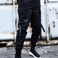 2020 hip- hop men' s jogger black harem pants multi- pocke...