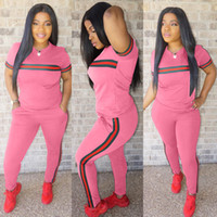 Casual Trendy Women Tracksuits Sports Outfits Striped Summer...