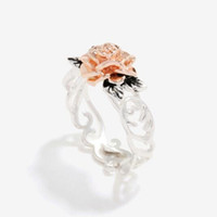 Exquisite Two Tone Floral Ring Solid Fashion Flower Jewelry ...