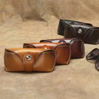 Nova Chegue Vintage Óculos Caixa Duro Couro Genuíno Espetáculo De Luxo Óculos Bag Capa Eyewear Óculos de Sol Suporte Homens Homens Mulheres