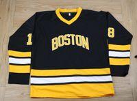 Vintage Boston Bruins 18 Happy Gilmore Hockey Jersey Black White Men Movie Stitched CCM Taglia S-XXXL