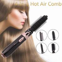 Sèche-cheveux 4-en-1 peigne à air multifonctionnel Négatif Négatif Ion humide Dual-Use Sèche-utilisation électrique Sèche-lisseur tige de curling