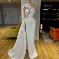 화이트 Appiqued 한 어깨 댄스 파티 드레스 2020 Ruched Side Split Sexy Celebrity Dress Robes de Mariée Red Carpet Gowns