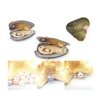 Las ostras de perlas con arroz 7-8 mm de amor real perlas de agua dulce y Nacklace Conjunto (55 cm de la cadena)