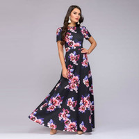 Fashion Long Summer Dress Women Elegant 2019 Short Sleeve Woman Dresses Party Vestidos Floral Print Women's Dresses Slim Sundress