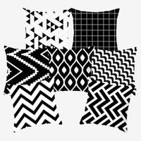 Cubiertas geométricas decorativas de cojín decorativo de almohada en blanco y negro para sofá poliéster 45 * 45 Cubiertas de almohadas de lanzamiento 10040