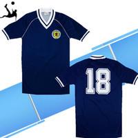 1982 Schottland Retro-Fußball-Trikot-blaue Weltmeisterschaft 82 83 Dalglish Strachan Miller Souness Hansen George Wood klassische Fußballhemden