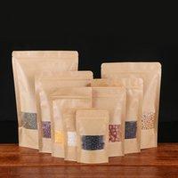 100PCS Högkvalitativ Kraft Paper Bag 14 * 20cm (4.7 * 7.8I) Fönster ZiPlock Bag Mutter Torkad Frukt Snacks Universal Package