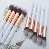 Fondation de gros en poudre professionnelle Pinceaux synthétique poignée en marbre outils de maquillage de cheveux est bon pour les cadeaux des clients