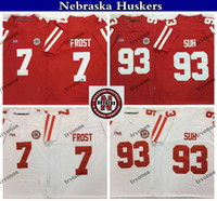 Nebraska Huskers Vintage 7 Scott Frost 93 Ndamukong Suh College Football maglie Rosso Bianco Mens cucita camice S-XXXL