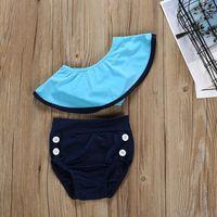 Omuz Mayo İki adet Mayo Bebek fırfır Eğik Omuz Mayo çocuk Bikini LJJP33 kapalı Çocuk Kız