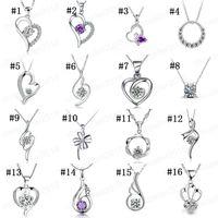 Luxus-925 Sterlingsilber-Kristallherz-Halskette für Frauen Romantische CZ Kleeblatt-Anhänger mit Box-Ketten Fashion Jewelry