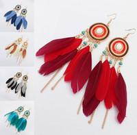 Hot Bohemian Fashion Women's Feather Tassels Long Chain Dangle Earrings Romantic Female Ornaments Earrings S283