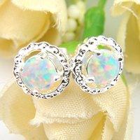 5 Çifti Luckyshine Moda Basit Beyaz Doğal Opal Gemstone 925 Gümüş Düğün Bayanlar Stud Kulak