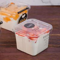 واضح كعكة مربع صناديق شفافة مربع موس البلاستيك كب كيك مع غطاء الزبادي مهلبية الزفاف إمدادات حزب QW9410