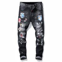 Erkek Jeans Yeni Moda Erkek Biker Jeans Dar Kesim Düz Motosiklet Denim Pantolon Erkek Boyutu 28-38 İçin