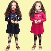 girls owl printed dresses 2 colors Full sleeve fashion carto...