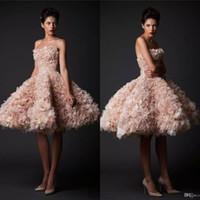 Krikor Jabotian Vintage Brautkleider trägerlos Knielänge kurze Brautkleider Tüll a-line plus größe erröten hochzeitskleid