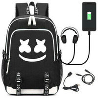 Fashion America DJ Marshmello Marshmallow Mochila USB Oxford Travel Laptop Bag Mochila