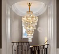 ما بعد الحداثة دوبلكس بناء كريستال الثريا ضوء إضافي طويل الذهب LED كريستال الدوارة مصابيح قلادة على الدرج فلل فندق MYY