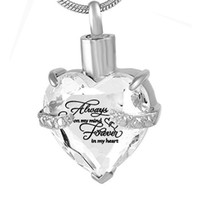 Stainless Steel Crystal Heart Memorial Jewelry Cremation Urn...